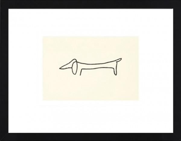 Picasso-Kunstdruck, Dackel im schwarzen Holzrahmen