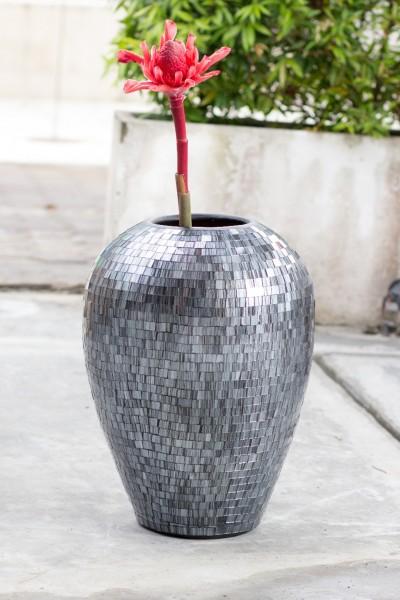 Bauchige Vase Mosaik silber/anthrazit