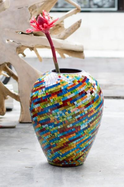 Bauchige Vase Mosaik bunt