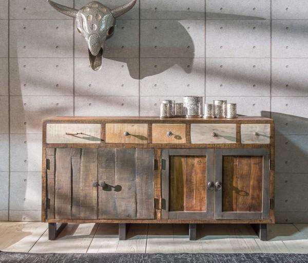 Unikat-Sideboard mit 5 Schubladen und 4 Holztüren, Shabby