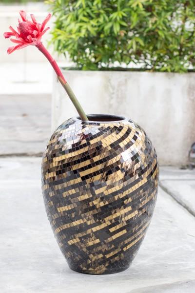 Bauchige Vase Mosaik schwarz/gold