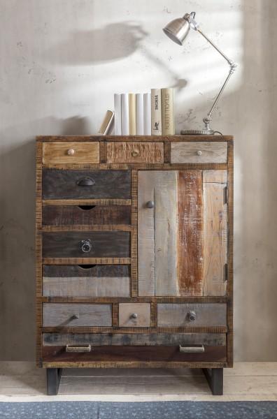 Unikat-Kommode mit 11 Schubladen und Holztür, Shabby
