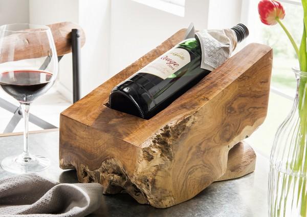 Weinwiege aus Teakholz, Weinsflaschenhalter