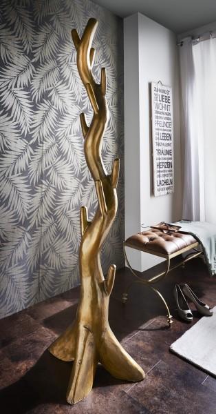 Kleiderständer aus Suar-Holz, gold