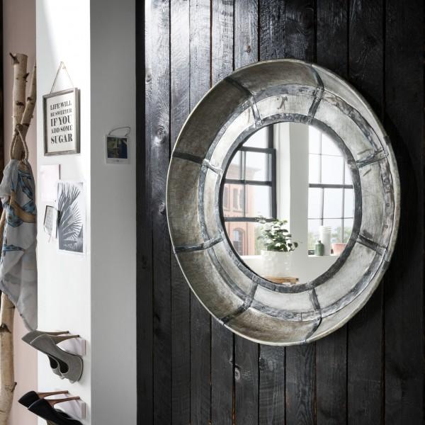 Wandspiegel rund mit Eisen-Rahmen, vintage