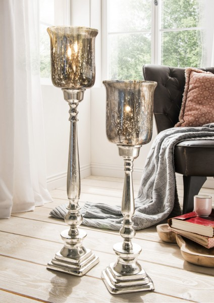 Kerzenständer freistehend Aluminium mit Antik-Glas II