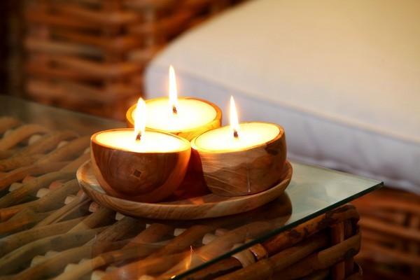 Kerzen in Teakholzschale, 3er Set (Ohne Untesetzer)