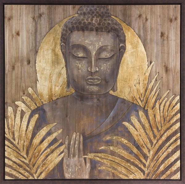 Wandbild auf Holz, BUDDHA handgefertigt