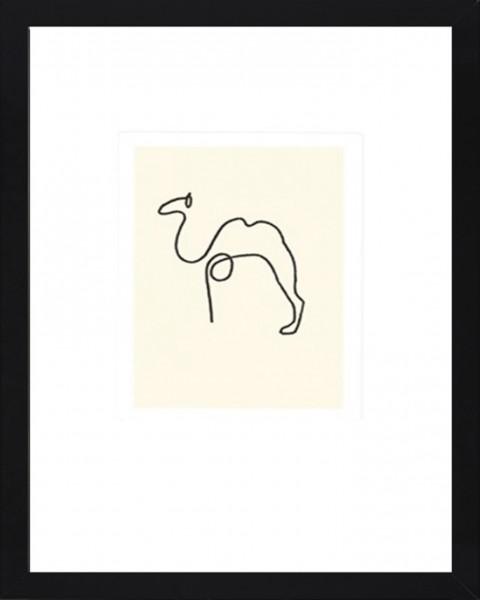Picasso-Kunstdruck, Kamel im schwarzen Holzrahmen