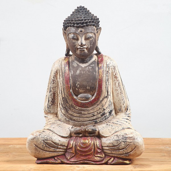 Buddhaskulptur III geschnitzt aus Suarholz, farbig bemalt, handmade