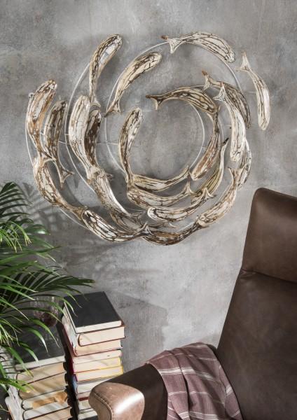 Wanddekoration Fischschwarm Kreis aus Alabasia-Holz