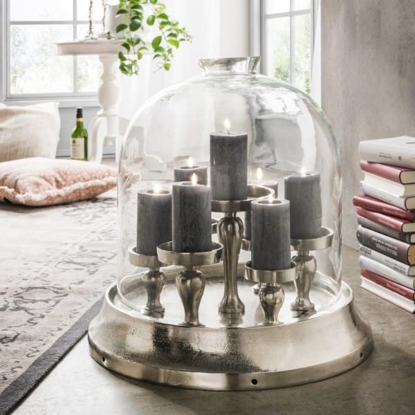 Kerzenständer mit Glaskuppel