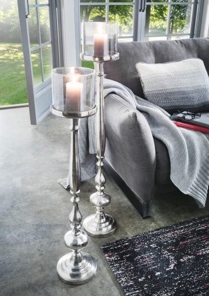 Kerzenständer freistehend Aluminium mit Antik-Glas