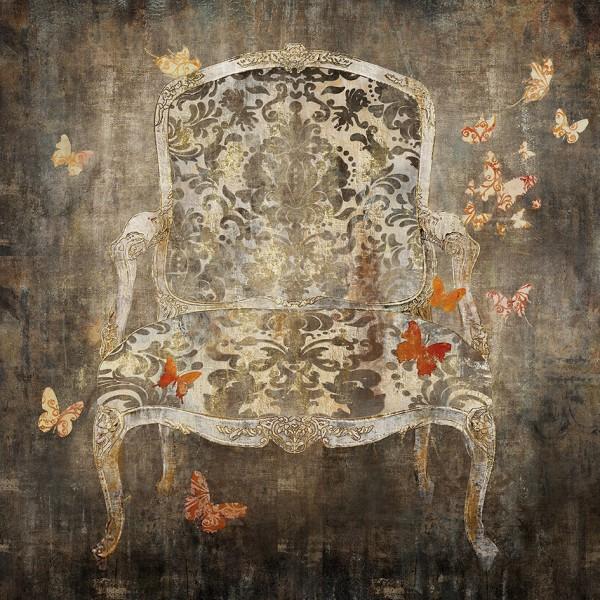 Wandbild auf Holz, BAROCKSESSEL 1 handgefertigt