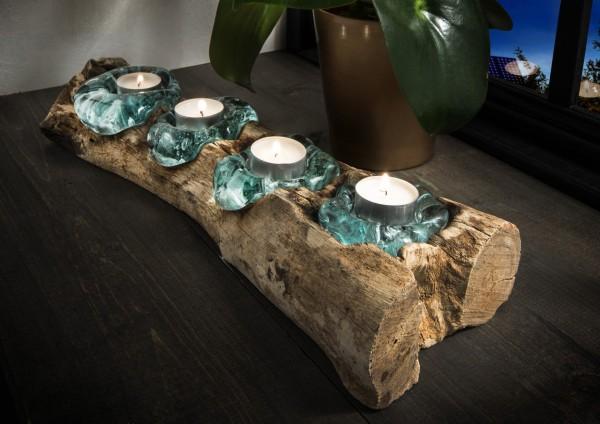 Teelichthalter, Deko-Objekt aus Teakholz mit Glas, handmade