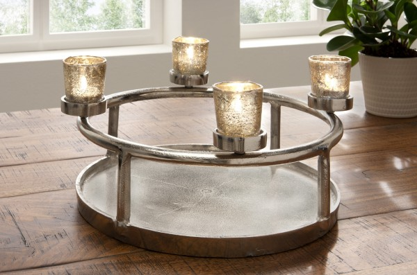 Teelichthalter rund, silber mit Antik-Gläsern