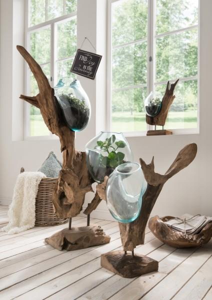 Holzskulptur, Dekowurzel mit Glasvase(n)