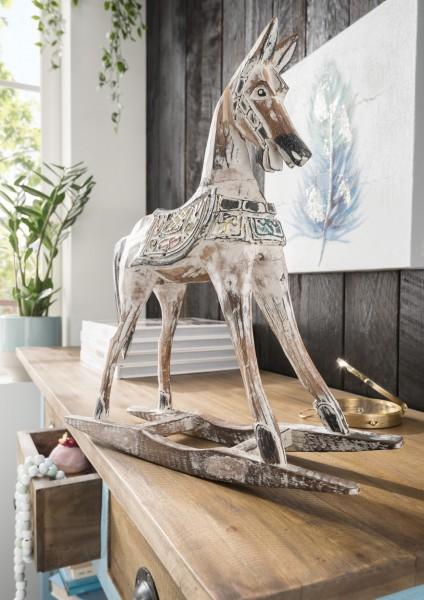Deko-Schaukelpferd aus Alabasia-Holz, handmade