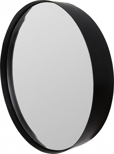Runder Wandspiegel mit matt schwarzem Stahlrahmen