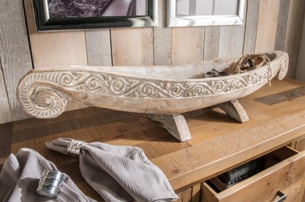 Dekoschale aus Altholz in Bootsform, handmade