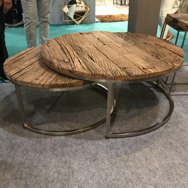 Couchtische aus Altholz, 2er-Set, rund