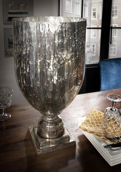 Vase / Pokal mit Antik-Glas, silber