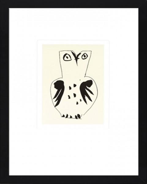 Picasso-Kunstdruck, Eule im schwarzen Holzrahmen
