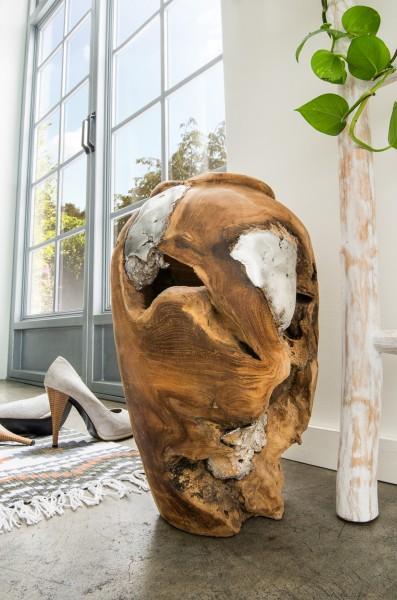 Deko-Vase aus Teak & Aluminium