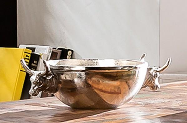 Deko-Schale Aluminium natur vernickelt, mit Stierköpfen