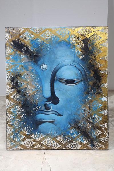 Leinwandbild, BLUE BUDDHA FACE