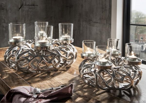 Geflochtener Kranz mit Teelichthaltern, Aluminium