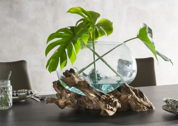 Holzskulptur, Dekowurzel mit Glasschale