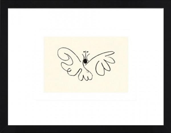 Picasso-Kunstdruck, Schmetterling im schwarzen Holzrahmen