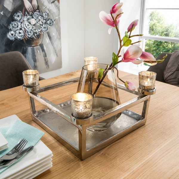 Teelichthalter quadratisch, silber mit Antik-Gläsern