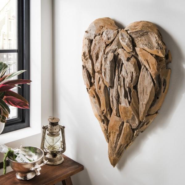 Wand-Dekoration Herz aus Recycling-Teakholz
