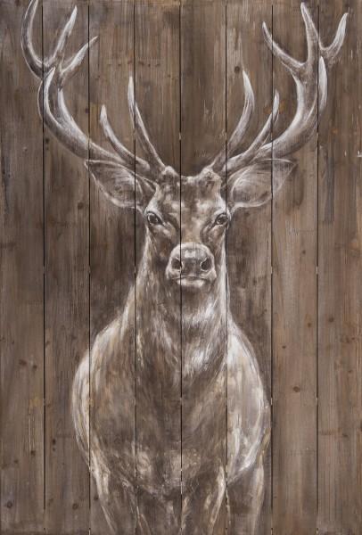 Wandbild auf Holz, HIRSCH handgefertigt