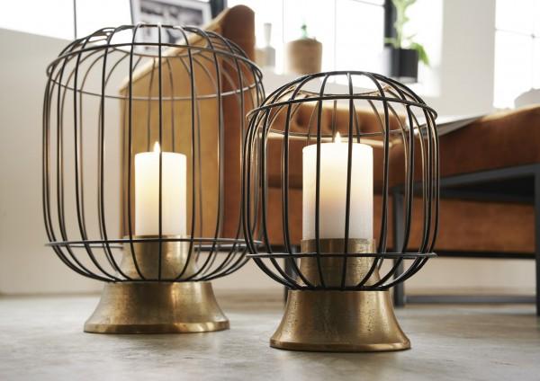 Windlicht klein Aluminium Bronzegoldfarben mit Metallgitter mattschwarz