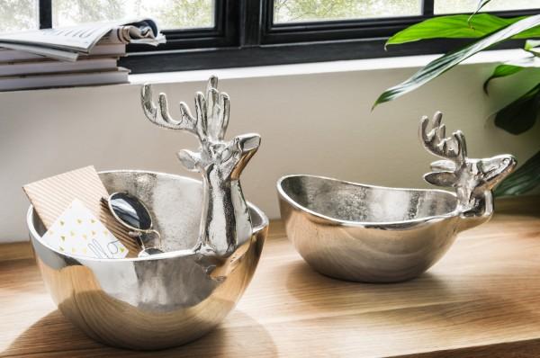 Schale Aluminium mit Hirschkopf