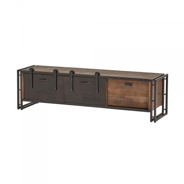 "TV-Board ""Industrial"" aus Vintage-Metall und Mangoholz"