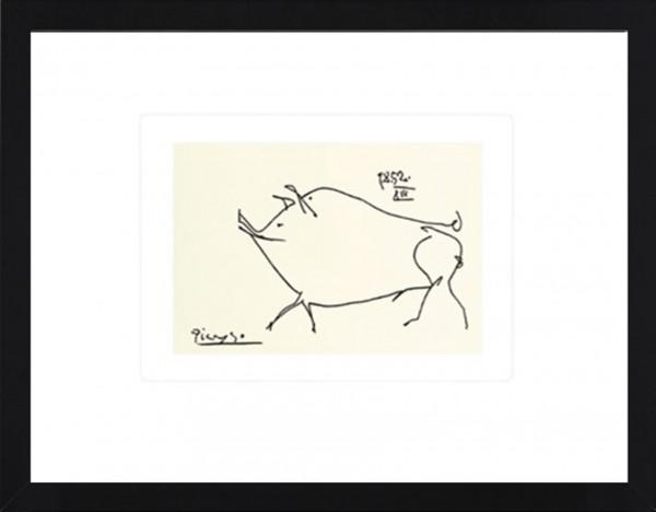 Picasso-Kunstdruck, Schwein im schwarzen Holzrahmen
