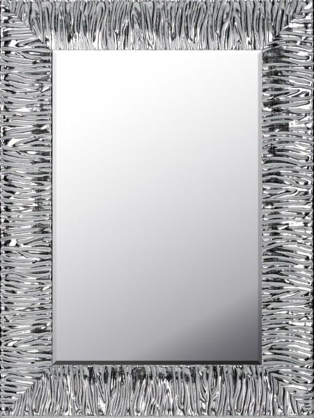 Wandspiegel mit Massivholzrahmen, silber lackiert