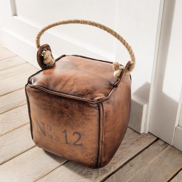 Türstopper Vintage Leder, braun, eckig