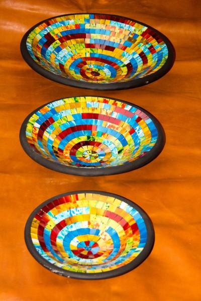 Deko-Schalen Mosaik aus Terracotta mit Recyclingglas bunt, 3er-Set