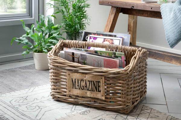 Zeitungskorb aus Rattan