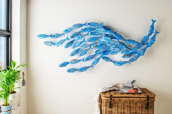 Wanddeko / -Objekt Fischschwarm Blau