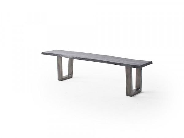 System Porto - Sitzbank Akazie grau sandgstrahlt, verschiedene Gestelle