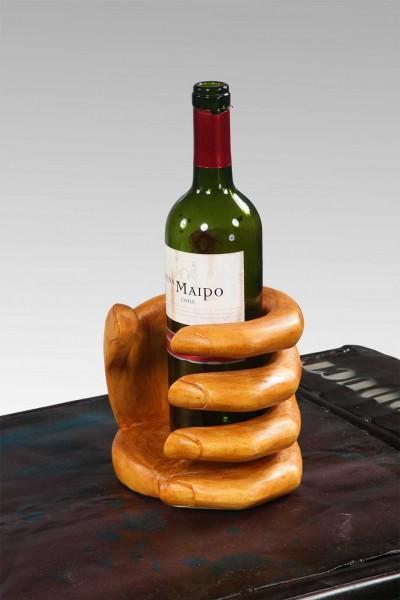 Weinflaschenhalter aus Teakholz, Hand
