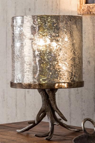 Windlicht mit Geweih-Fuß Aluminium