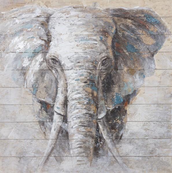 Wandbild auf Holz, ELEFANT 4 handgefertigt