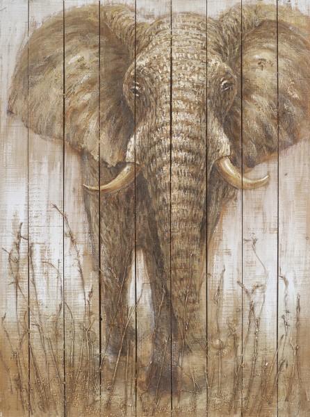 Wandbild auf Holz, ELEFANT 6 handgefertigt